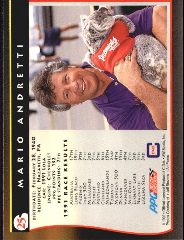 1992 All World Indy #25 Mario Andretti back image