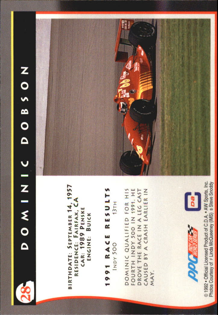 1992 All World Indy #28 Dominic Dobson back image