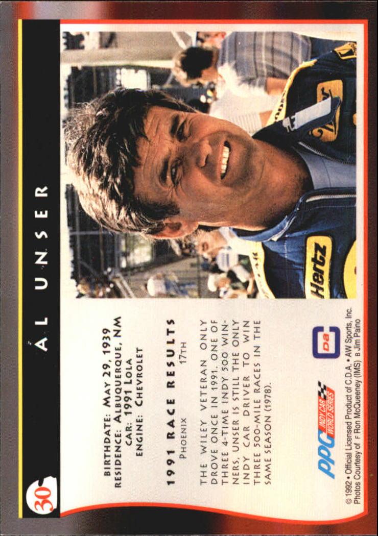 1992 All World Indy #30 Al Unser back image