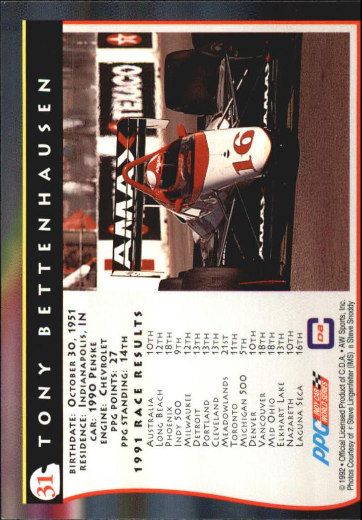 1992 All World Indy #31 Tony Bettenhausen back image