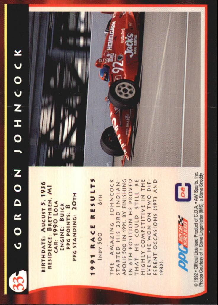 1992 All World Indy #33 Gordon Johncock back image