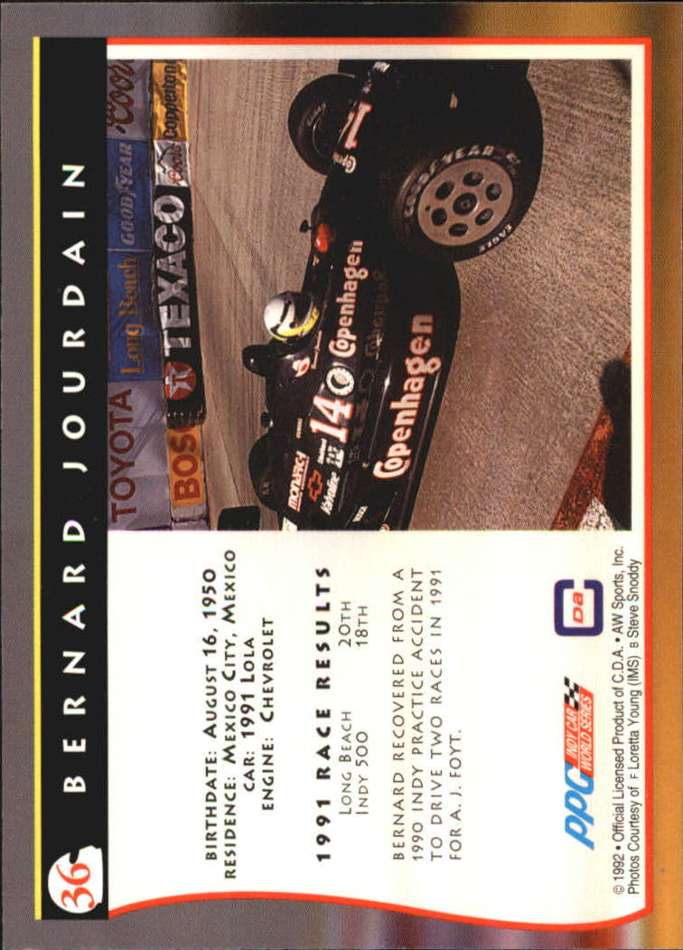 1992 All World Indy #36 Bernard Jourdain back image
