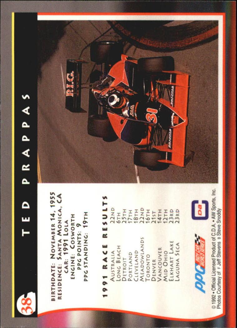 1992 All World Indy #38 Ted Prappas back image