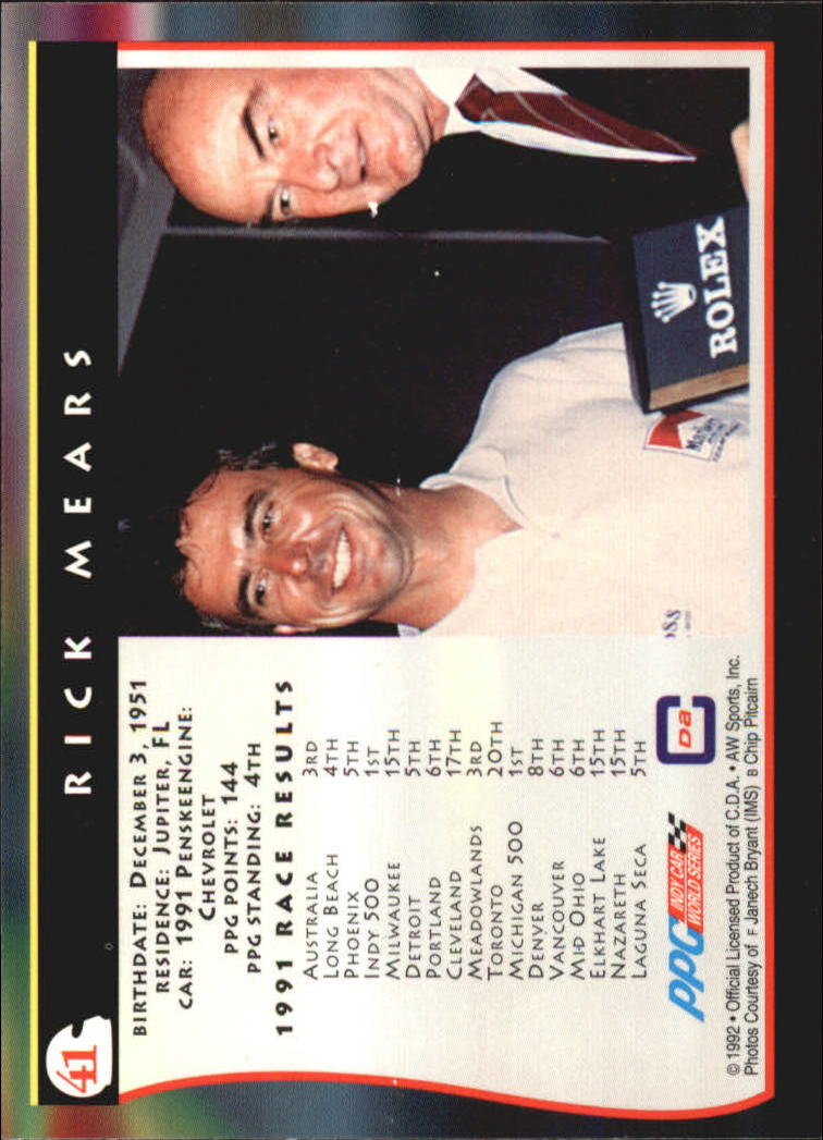1992 All World Indy #41 Rick Mears back image