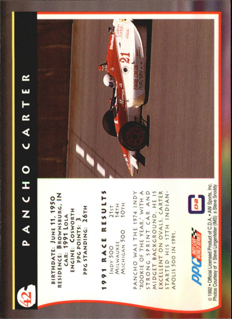 1992 All World Indy #42 Pancho Carter back image
