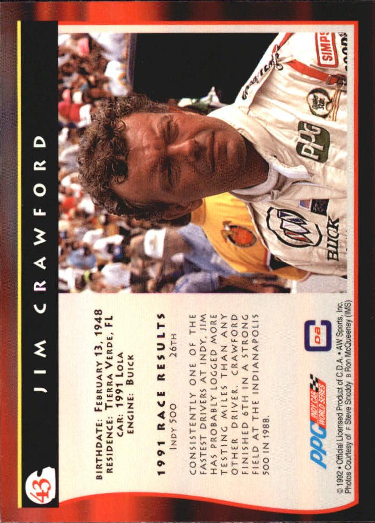 1992 All World Indy #43 Jim Crawford back image
