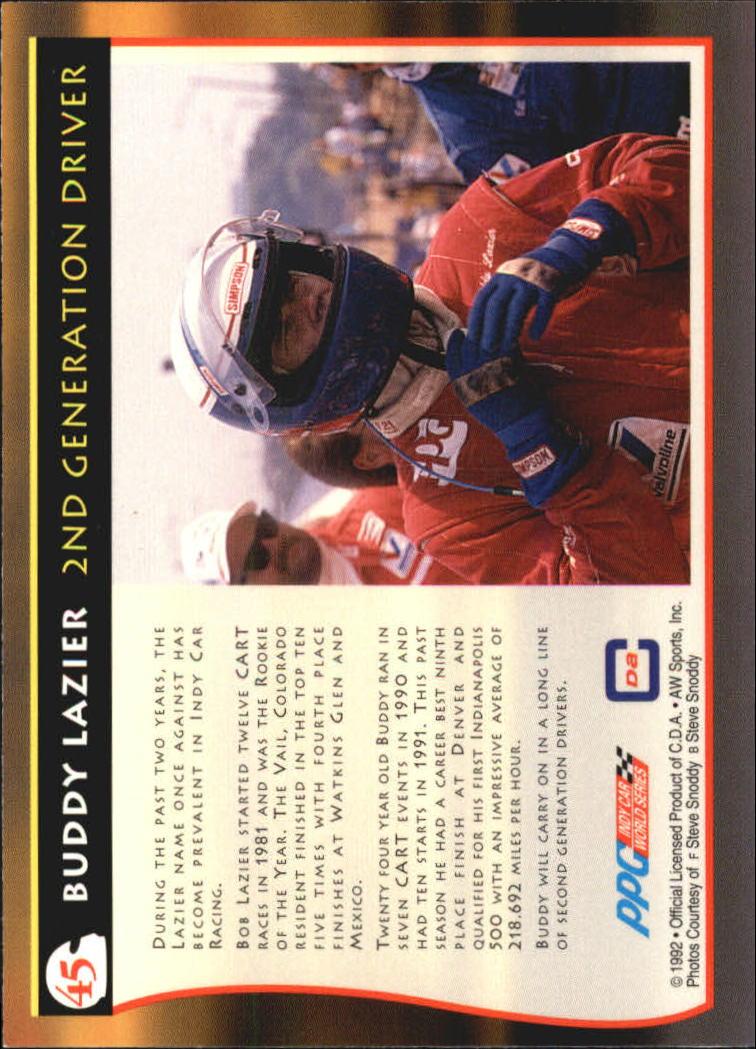 1992 All World Indy #45 Buddy Lazier/Bob Lazier back image
