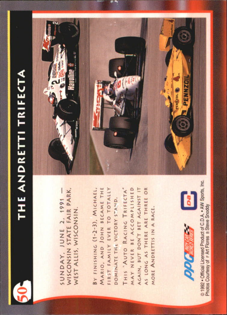 1992 All World Indy #50 Andretti Trifecta back image