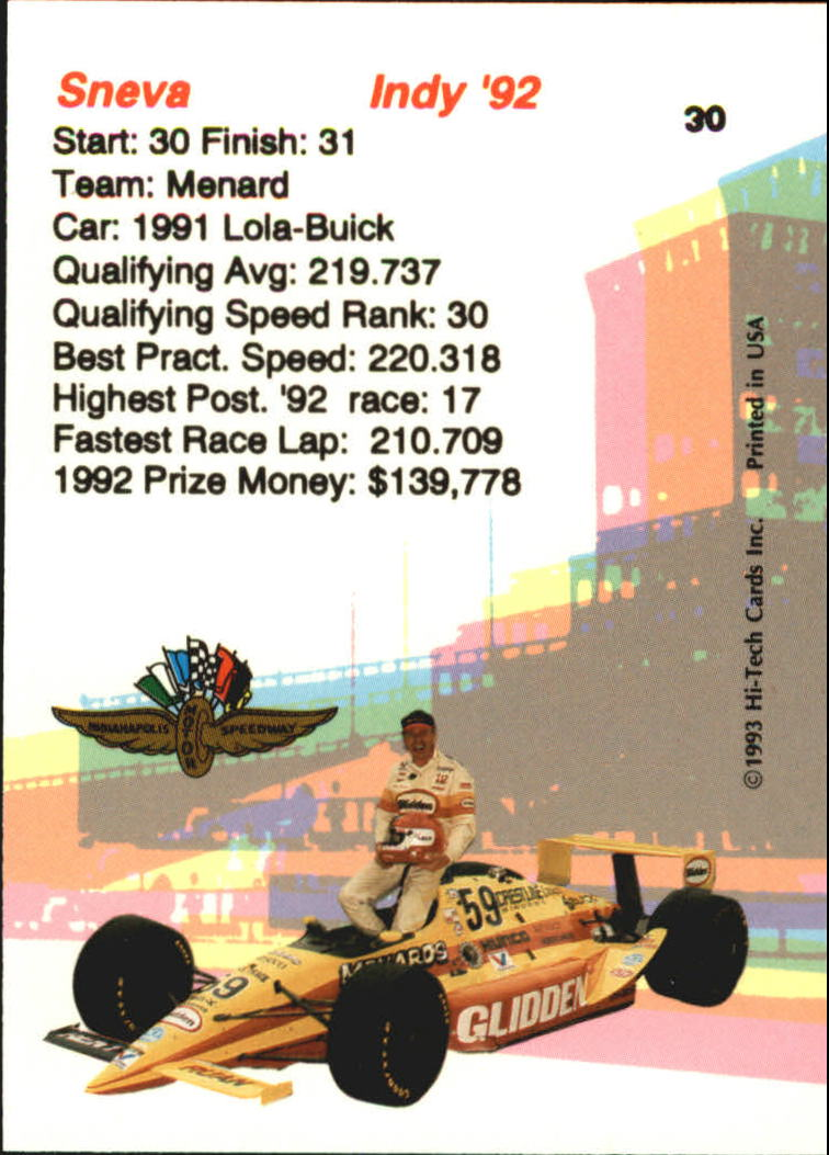 1993 Hi-Tech Indy #30 Tom Sneva back image