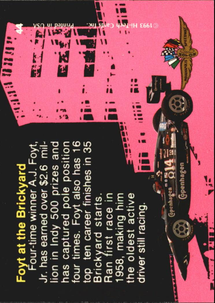 1993 Hi-Tech Indy #44 A.J. Foyt back image