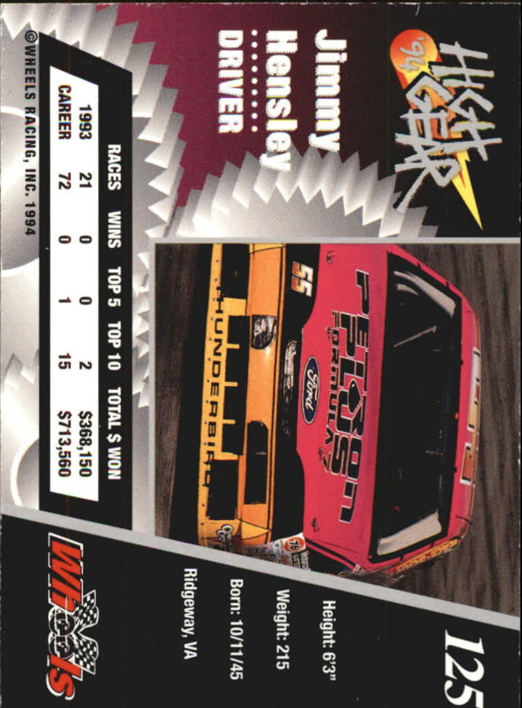 1994 Wheels High Gear Day One #125 Jimmy Hensley back image