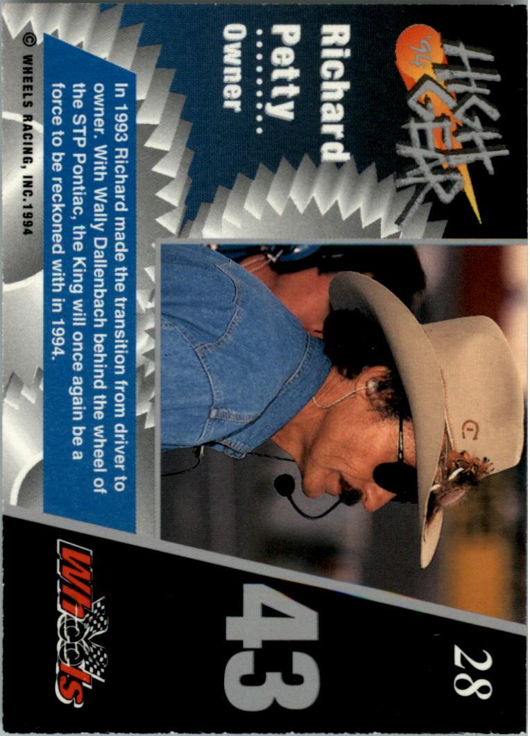 1994 Wheels High Gear #28 Richard Petty back image