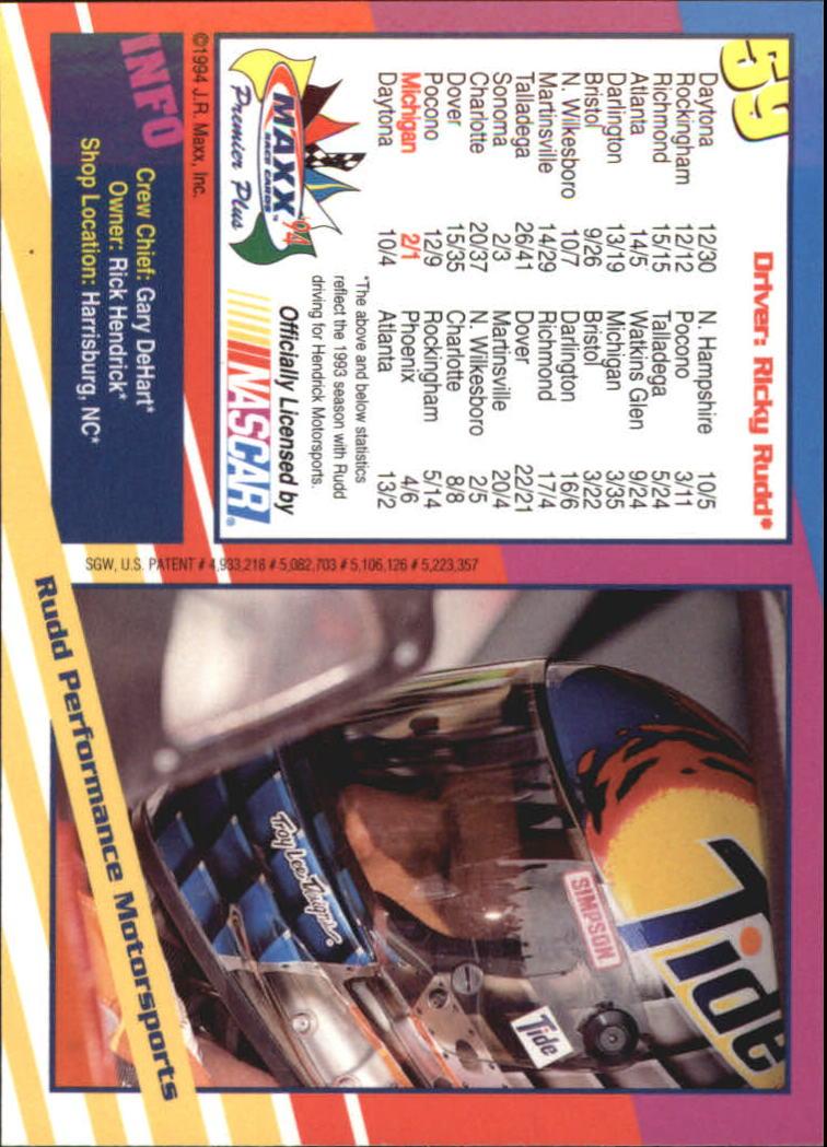 1994 Maxx Premier Plus #59 Ricky Rudd's Car back image