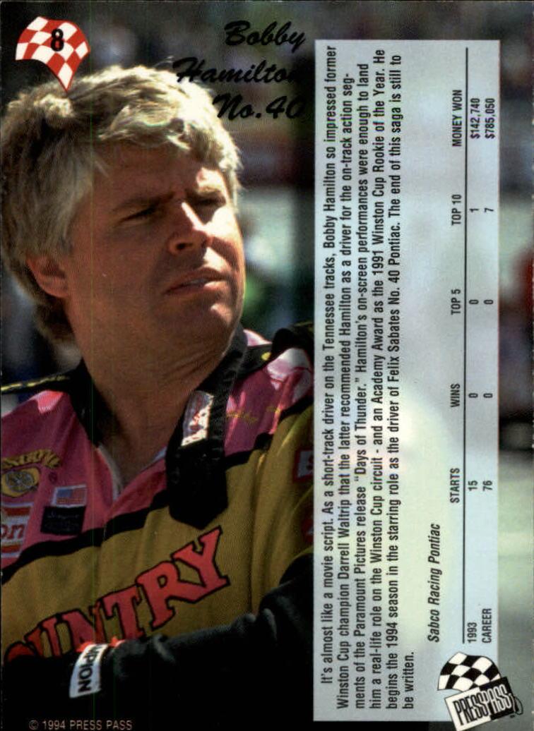 1994 Press Pass #8 Bobby Hamilton back image