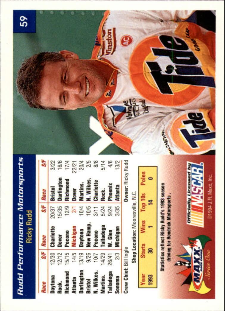 1994 Maxx #59 Ricky Rudd w/Car back image