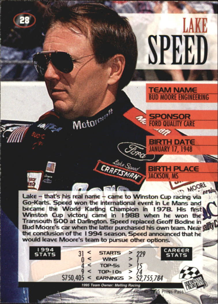 1995 Press Pass #28 Lake Speed back image