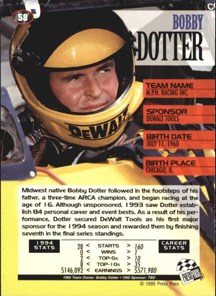 1995 Press Pass #58 Bobby Dotter back image