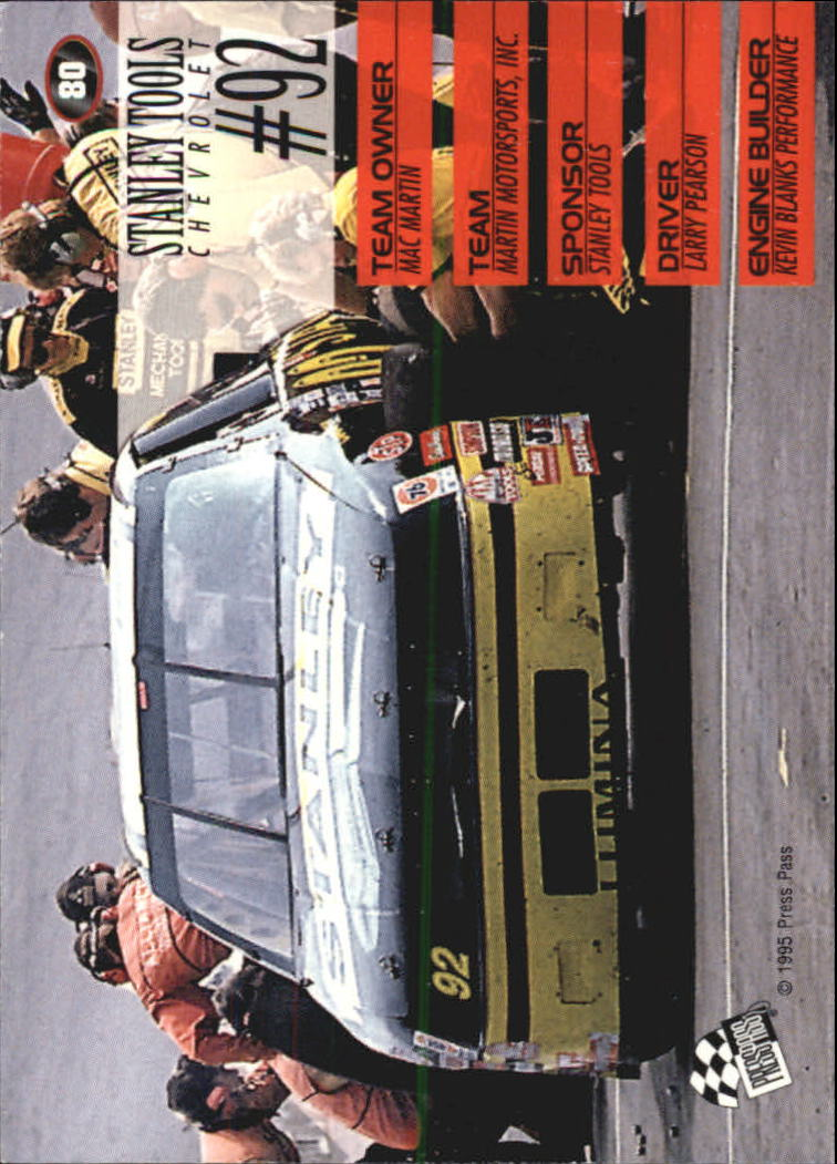 1995 Press Pass #80 Larry Pearson's Car back image