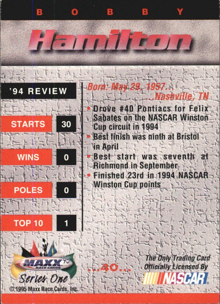 1995 Maxx #40 Bobby Hamilton back image