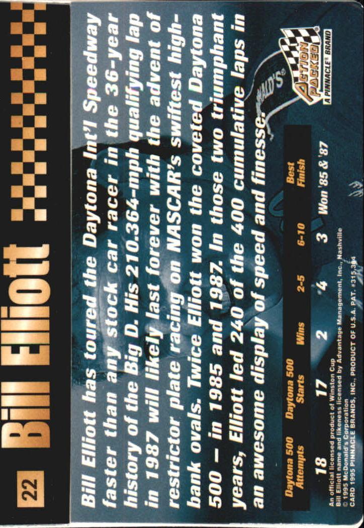 1995 Action Packed Stars #22 Bill Elliott OC back image