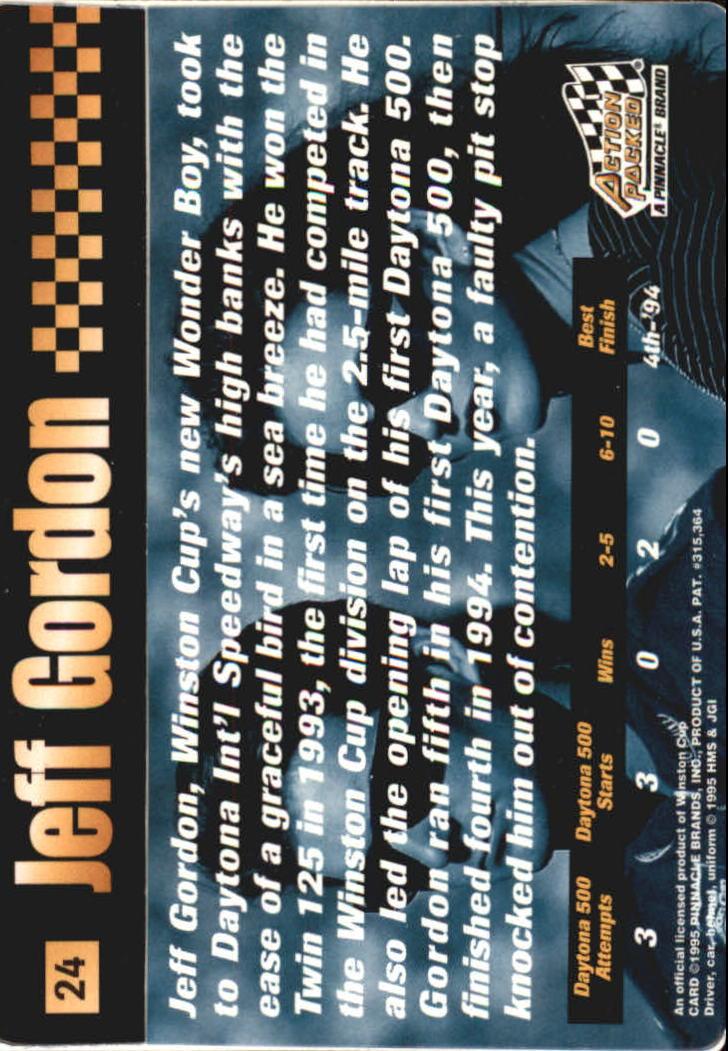 1995 Action Packed Stars #24 Jeff Gordon OC back image