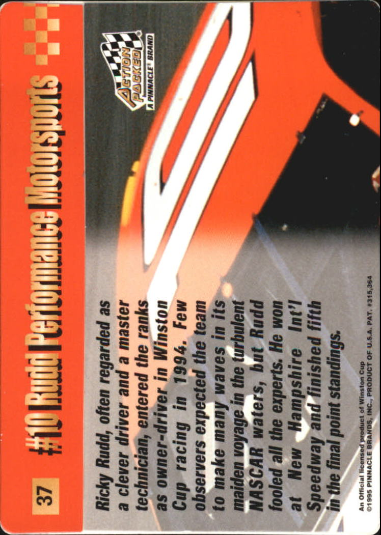 1995 Action Packed Stars #37 Ricky Rudd's Car back image