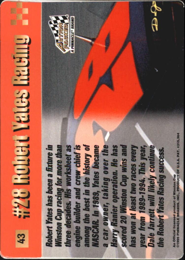 1995 Action Packed Stars #43 Dale Jarrett's Car back image