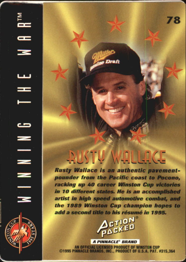 1995 Action Packed Stars #78 Rusty Wallace WW back image