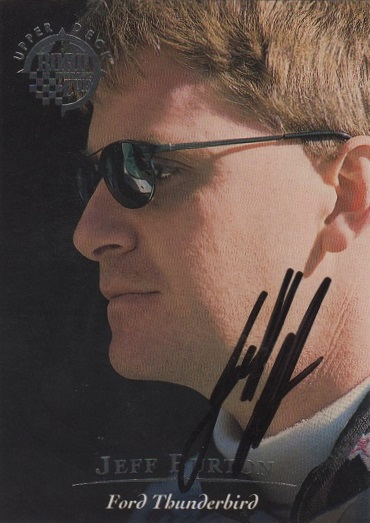 1996 Upper Deck Road To The Cup Autographs #H30 Jeff Burton