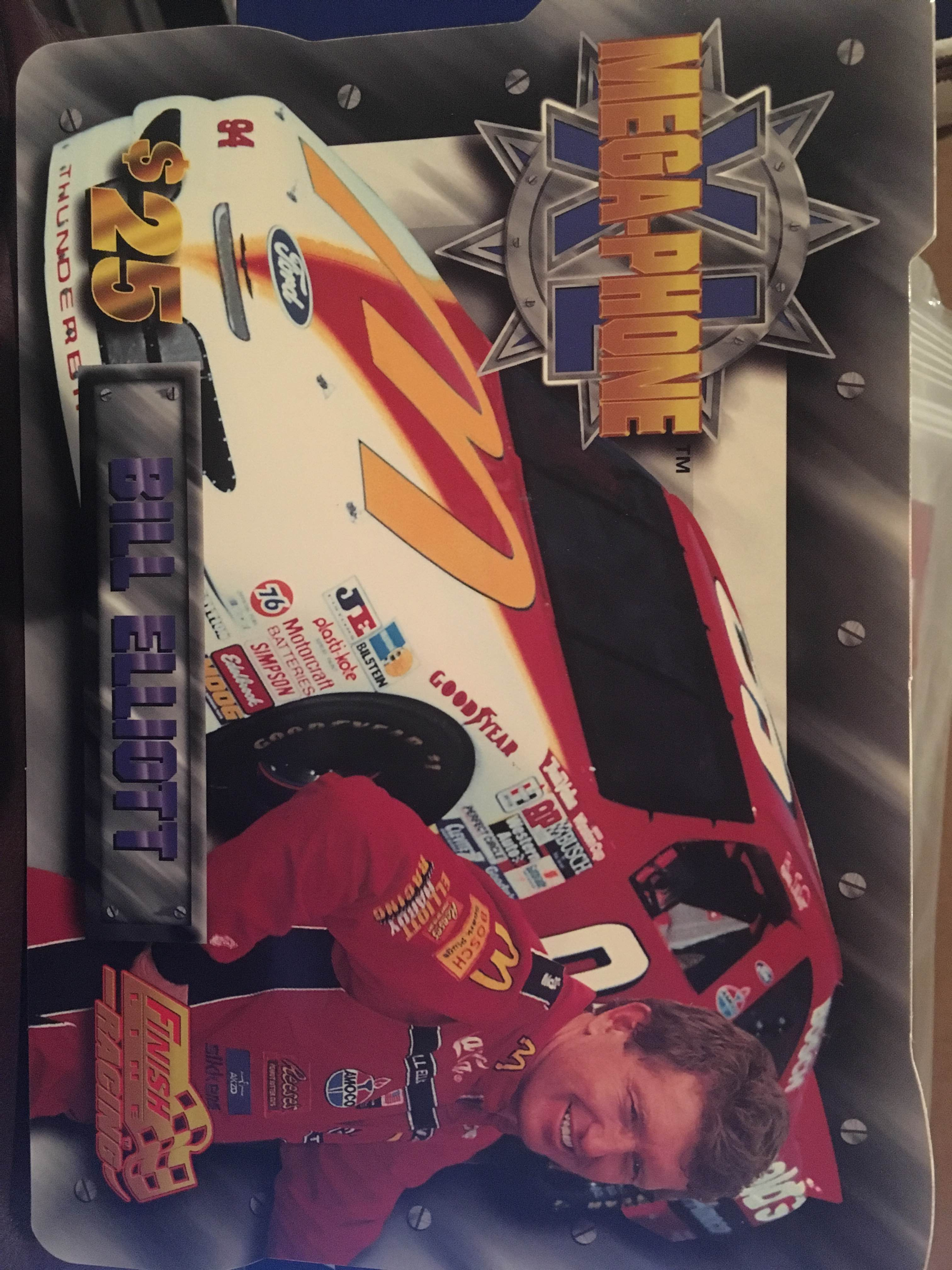 1996 Finish Line Mega-Phone XL Phone Cards #2 Bill Elliott