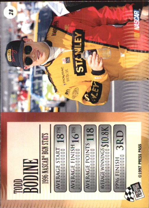 1997 VIP #28 Todd Bodine back image