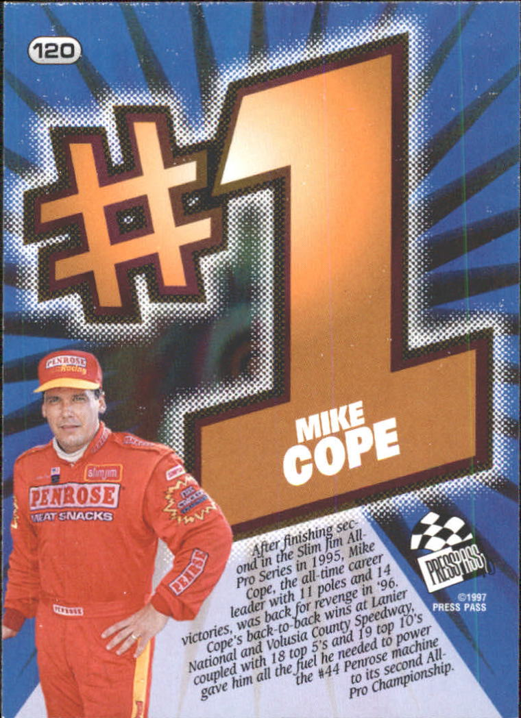 1997 Press Pass #120 Mike Cope back image