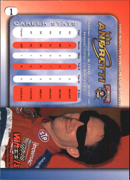 1998 Wheels #1 John Andretti back image