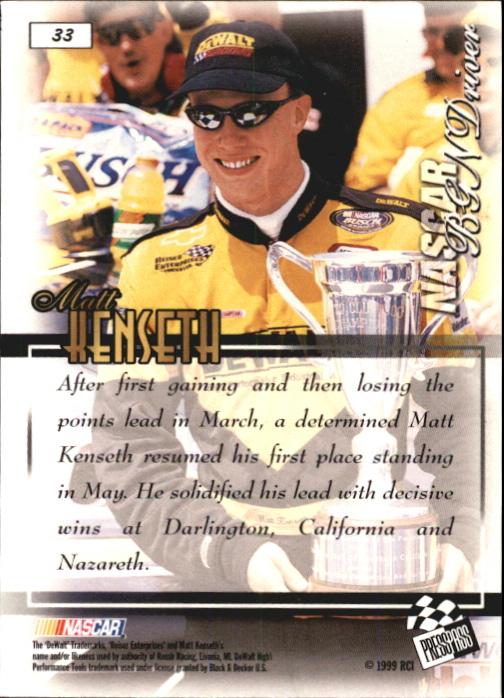 1999 VIP #33 Matt Kenseth RC back image