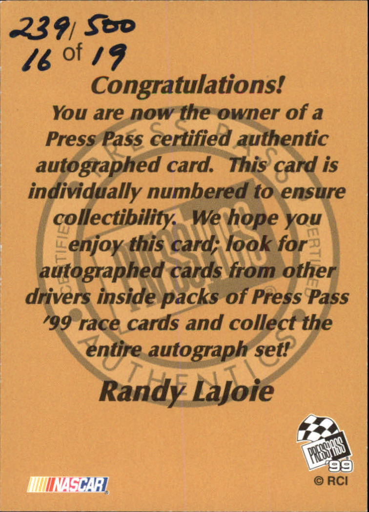 1999 Press Pass Autographs #14 Randy LaJoie/500 back image