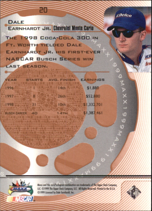 1999 Maxx #20 Dale Earnhardt Jr.'s Car back image