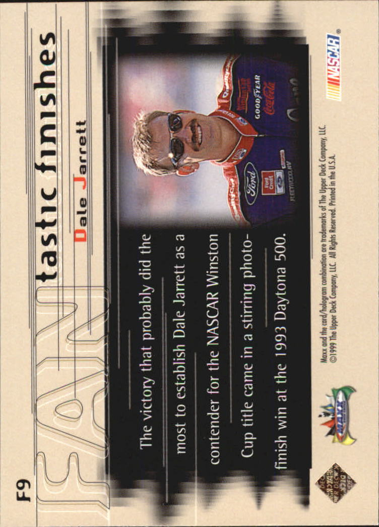 1999 Maxx FANtastic Finishes #F9 Dale Jarrett's Car back image