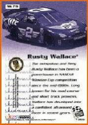 2000 Press Pass Skidmarks #SK7 Rusty Wallace back image