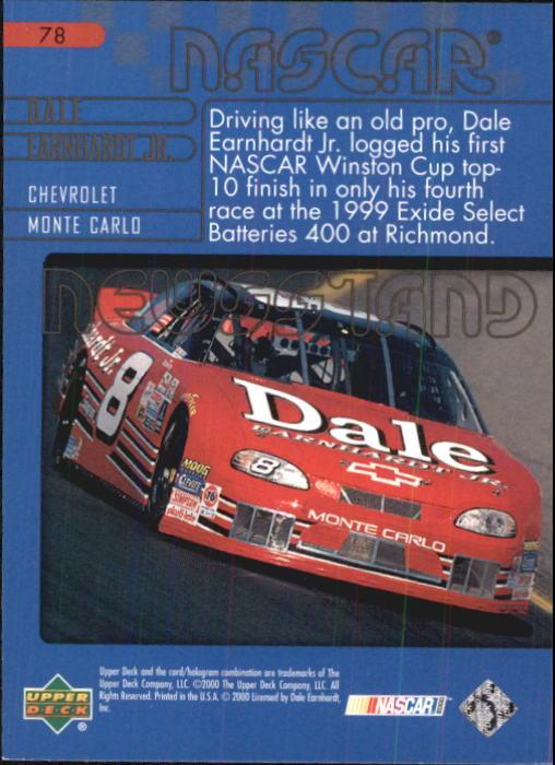 2000 Upper Deck Victory Circle #78 Dale Earnhardt Jr.'s Car back image