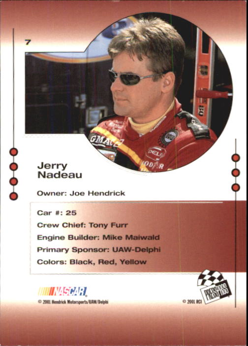 2001 Press Pass Trackside #7 Jerry Nadeau back image