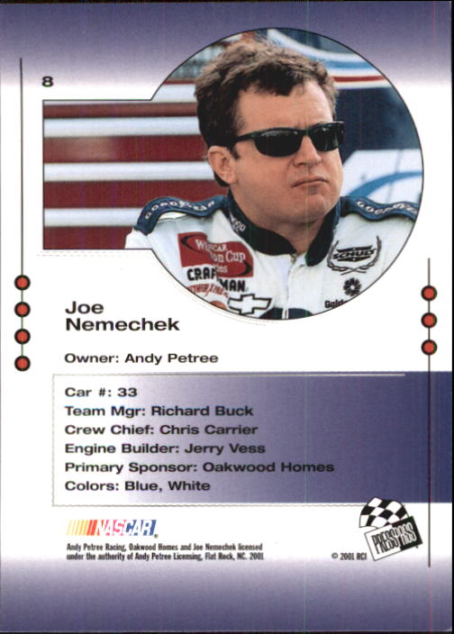 2001 Press Pass Trackside #8 Joe Nemechek back image