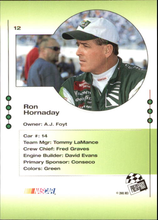 2001 Press Pass Trackside #12 Ron Hornaday back image