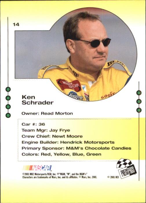 2001 Press Pass Trackside #14 Ken Schrader back image