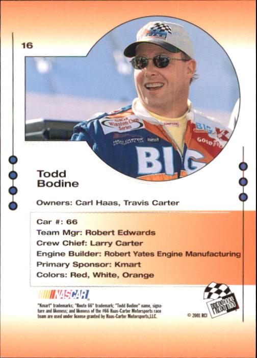 2001 Press Pass Trackside #16 Todd Bodine back image