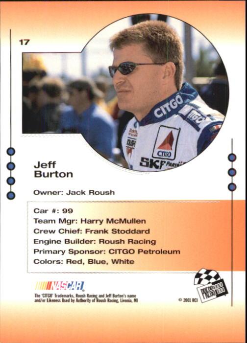2001 Press Pass Trackside #17 Jeff Burton back image