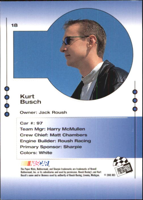 2001 Press Pass Trackside #18 Kurt Busch CRC back image
