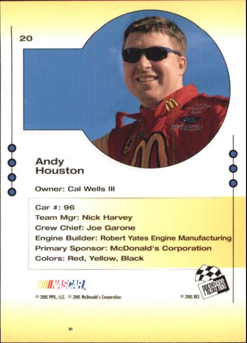 2001 Press Pass Trackside #20 Andy Houston back image