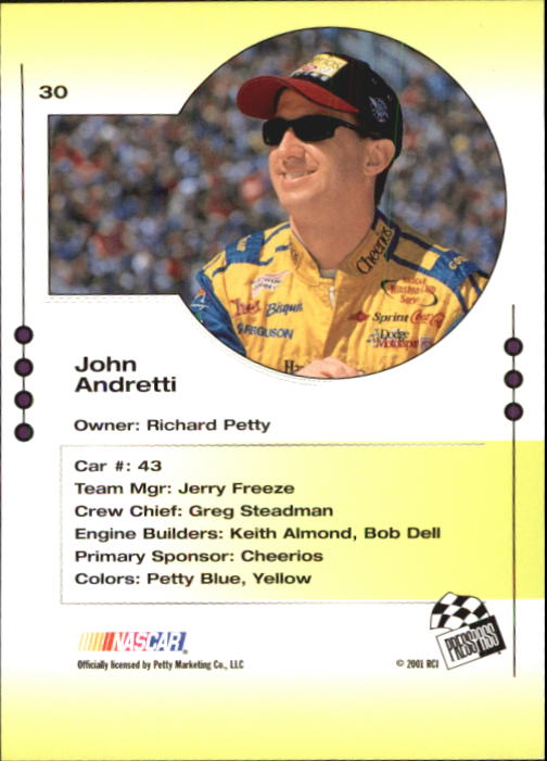2001 Press Pass Trackside #30 John Andretti back image