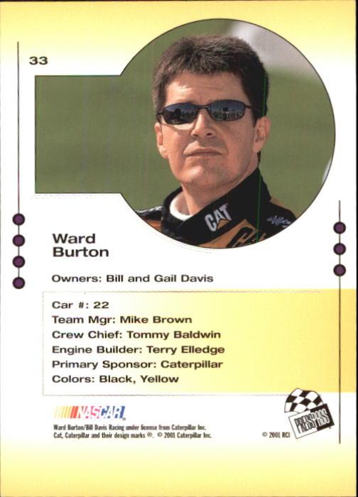 2001 Press Pass Trackside #33 Ward Burton back image