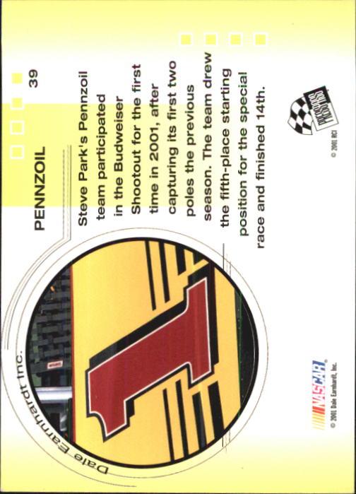 2001 Press Pass Trackside #39 Steve Park's Car back image